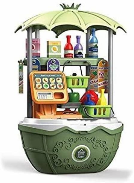 Smartcraft 2 in 1 Surprise Supermarket Car, Pretend Play Supermarket Set for Children-49 Pcs- (Multicolor)