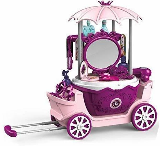 Smartcraft 4 in 1 Surprise Princess Dresser Trolley, Pretend Play Beauty Set for Girls- 31 Pcs (Multicolor)
