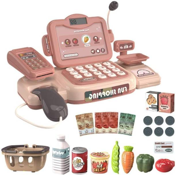 Smartcraft Happy Shopping Cash Register, Pretend Play Shopping Grocery Cash Register- Multicolor