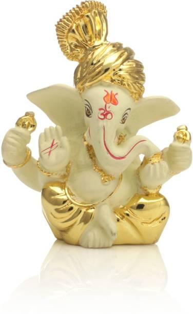 Collectible India Ganesha Idol Gold Plated Table Car Dashboard Statue Decorative Showpiece  -  8 cm