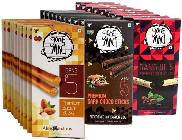 Gone Mad Combo Of Choco, Badam And Coffee Sticks(Pack of 30, Each Flavour 10) Wafers