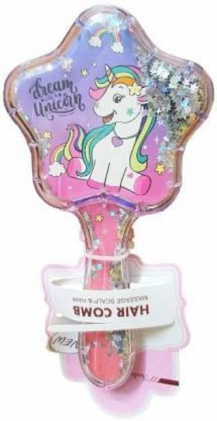 KRH STORE Latest Unicorn Imported Novelty Glittery Star Brush Detangler Paddle Cushion Antistatic Hair Loss Massage Hairbrush