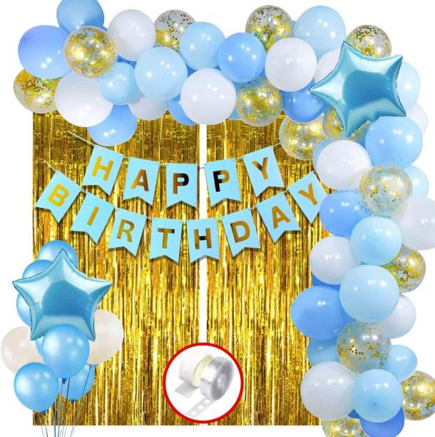 Hemito Solid Happy Birthday Decoration Kit Combo - 60pcs Birthday Banner Golden Foil Curtain Metallic Confetti Balloons With Hand Balloon Pump And Glue Dot for Boys Adult Husband Grand Father Dad/Happy Birthday Decorations Items Set Balloon