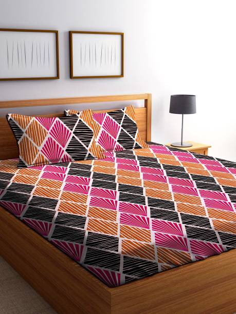 IWS 144 TC Microfiber Double Abstract Bedsheet