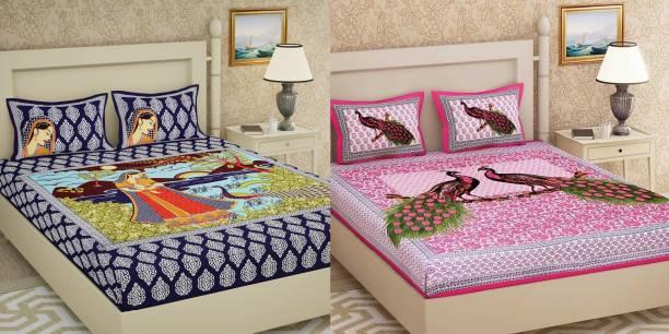 clothology 104 TC Cotton Double Jaipuri Prints Bedsheet