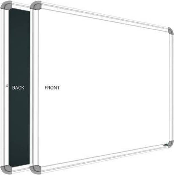 doozie Non Magnetic 1.5 X 2 feet White Board, One Side White Board Marker and Reverse Side Green Chalk Board Surface Whiteboard White, Black board