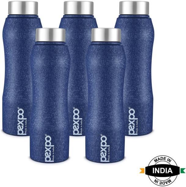 Pexpo Stainless Steel Bottles by Pexpo Bistro 1000 ML Stainless Steel Fridge Bottle 3X Durable Blue Colour 1000 ml Bottle