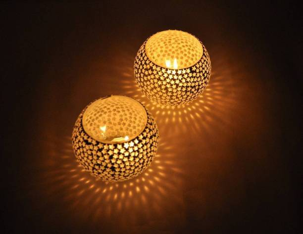 Crafts World Home Decorative Tea Light Candle Holder 3 Inches ( set of 2) Glass Candle Holder