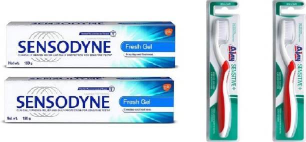 Sensodyne Fresh Gel 150gm Set of 2 & Ajay Sensitive Brush set of 2