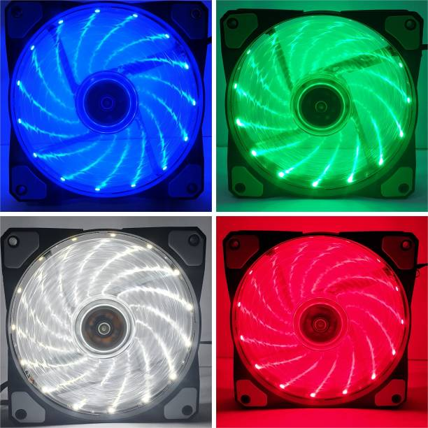NUBWO NFT-100 RED,GREEN,BLUE,WHITE COLOUR LED FAN 120MM - PACK OF 4 Cooler
