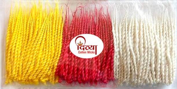 Divya Twisted Cotton Wicks || Handmade Long Batti || Pure Cotton Diya Batti || Pack Of 12 || Size 8 CM Long || Color Multicolor (Red, Yellow, White) Cotton Wick
