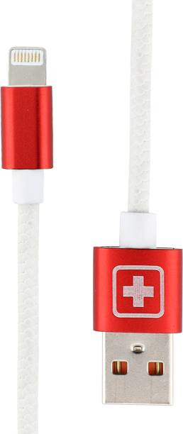 SWISS MILITARY Fast Charging 1.2 Mtr USB Lightning Data Cable with Aluminium Connector(Compatible with All USB devices) 2.4 A 1.2 m Lightning Cable