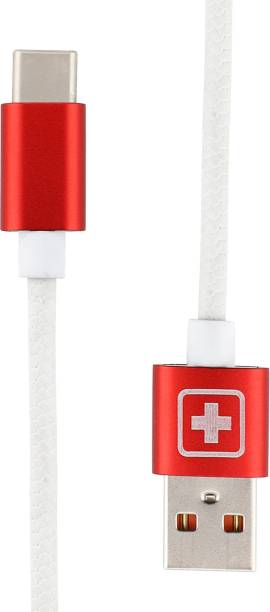 SWISS MILITARY Fast Charging 1.2 Mtr USB Type C Data Cable with Aluminium Connector (Compatible with All USB devices) 2.4 A 1.2 m USB Type C Cable