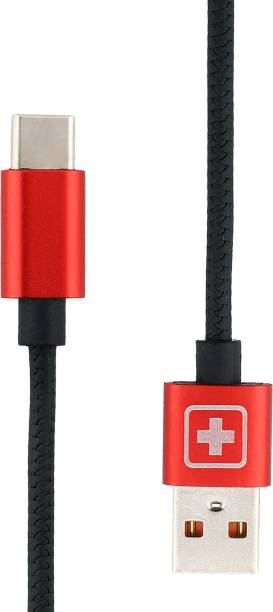 SWISS MILITARY Fast Charging 1.2 Mtr USB Type C Data Cable with Aluminium Connector with Snake Pattern (Compatible with All USB devices) 2.4 A 1.2 m USB Type C Cable