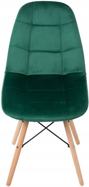 Finch Fox Eames Replica Quilted Velvet upholstered Dining Chair for Cafe Chair, Side Chair, Kitchen Breakfast, Living Room Chair in Dark Green Color Solid Wood Living Room Chair