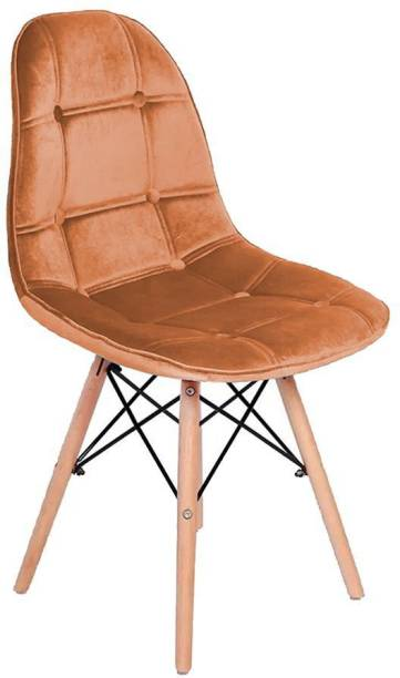 Finch Fox Eames Replica Velvet upholstered Dining Chair for Cafe Chair, Side Chair, Living Room Chair in Orange Color Engineered Wood Living Room Chair
