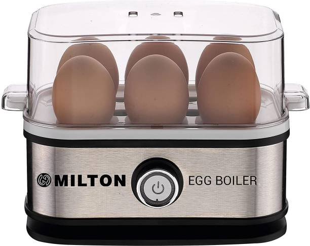 Milton Smart Egg Boiler - 210 Watt (Transparent and Silver Grey) - Boil Up to 6 Eggs Egg Cooker