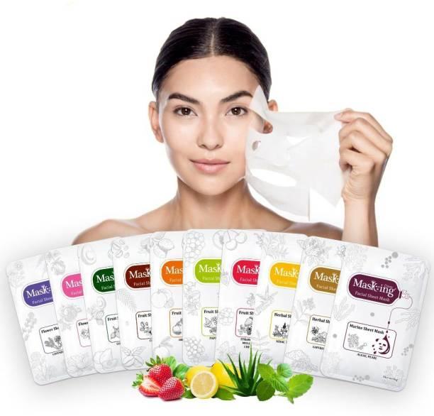 MasKing Diva Facial, Flower, Fruit, Marine and Herbal Multi Mask Sheet Combo Pack Of 10