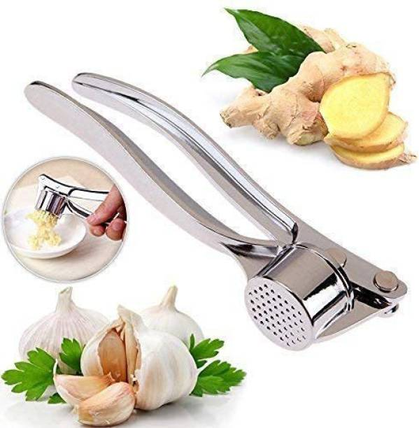 TatvamZone Garlic press has a comfortable handle beautiful look and durable.It is easy to clean and useful in home hotel restaurant as cooking helper.these products are innovative design essentials in your kitchen and good quality.The unique handle and head construction provide a mechanical advantage that reduces the force required to crush garlic cloves.It crushes several cloves of garlic with one easy press.Design of a handle for better leverage and easy squeezing. Perfect for mashing fresh garlic or ginger into a fine paste for sauces and dressings. Garlic Press