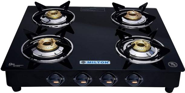 MILTON Premium Manual Ignition LPG Stove - (ISI Certified, Door Step Service) Black Glass Manual Gas Stove