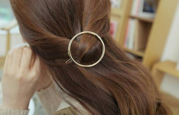 DENICRAAS Round Shape hair clip, Metal Clip stylish Ponytail Holder Hairclips women hair accessories for a half-up hairstyle Hair Pin