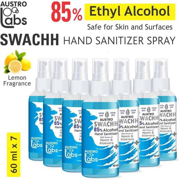 Austro Labs SWACHH HAND SANITIZER SPRAY LIQUID 60 ML X 7 (PACK OF 7) (420 ML) ETHYL ALCOHOL 85% Sanitizer Spray Bottle