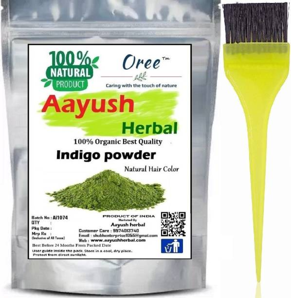 Aayush herbal Indigo Powder for Hair - Natural Black Dye, Anti-Dandruff & Hair Growth 100g