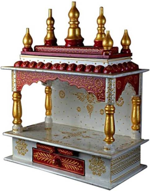 Marusthalee Red & White Temple Engineered Wood Home Temple