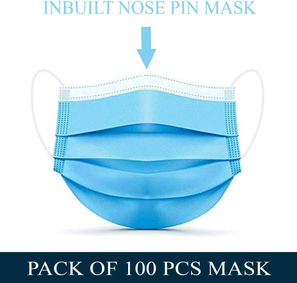 Tresbon TM-100 Surgical Mask-100. 100 Pcs. 3 Ply Mask With Nose Pin, Unbreakable Ear loops (Ultrasonically Welded) & Ultra Soft Ear loops (which does not hurt ears) 3 Layer Pharmaceutical Breathable Surgical Pollution Face Mask For Men, Women, Kids 3 Layer Pharmaceutical mask 100 Pcs. Surgical Mask (Blue, Free Size, Pack of 100, 3 Ply) Surgical Mask Surgical Mask