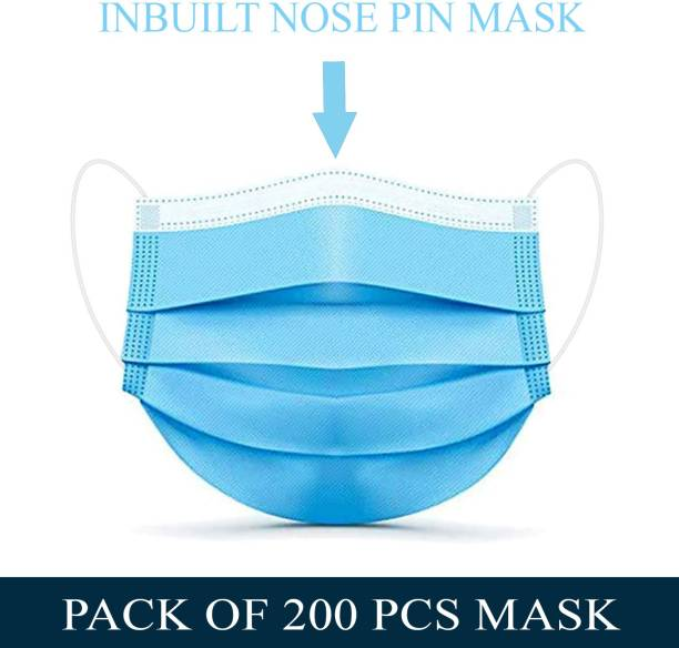 Tresbon TM-200 Surgical Mask-200. 200 Pcs. 3 Ply Mask With Nose Pin, Unbreakable Ear loops (Ultrasonically Welded) & Ultra Soft Ear loops (which does not hurt ears) 3 Layer Pharmaceutical Breathable Surgical Pollution Face Mask For Men, Women, Kids 3 Layer Pharmaceutical mask 200 Pcs. Surgical Mask (Blue, Free Size, Pack of 200, 3 Ply) Surgical Mask Surgical Mask