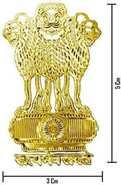 ETERNITIVE FASHION ETERNITIVE 24K Gold Plated Satyamev Jayate Shape Metal Sticker Stick on Any Flat Surface Mobile Skin (Pack of 2) Mobile Skin