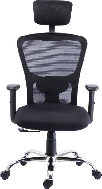 Bluebell GOLF ERGONOMIC HIGH BACK REVOLOVING/EXECUTIVE CHAIR WITH ADJUSTABLE LUMBER SUPPORT, ADJUSTABLE ARMS,ADJUSTABLE HEADREST AND BREATHEABLE MESH BACK(BLACK) Nylon, Mesh Office Adjustable Arm Chair
