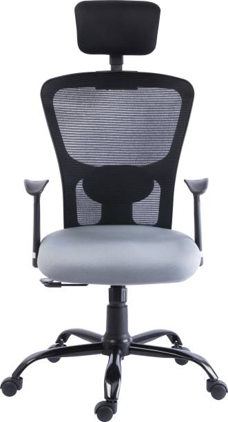 Bluebell POLO ERGONOMIC HIGH BACK REVOLOVING/EXECUTIVE CHAIR WITH ADJUSTABLE LUMBER SUPPORT,ADJUSTABLE HEADREST,ERGONMICALLY DESIGNED FIX ARMS AND BREATHEABLE MESH BACK(BLACK-GREY) Nylon, Mesh Office Executive Chair