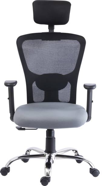 Bluebell GOLF ERGONOMIC HIGH BACK REVOLOVING/EXECUTIVE CHAIR WITH ADJUSTABLE LUMBER SUPPORT, ADJUSTABLE ARMS,ADJUSTABLE HEADREST AND BREATHEABLE MESH BACK(BLACK-GREY) Nylon, Mesh Office Adjustable Arm Chair