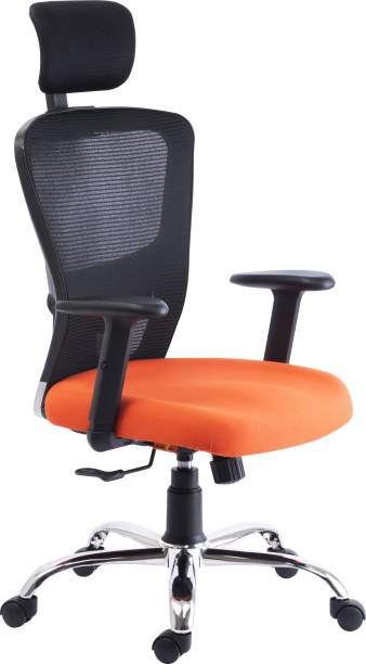 Bluebell GOLF ERGONOMIC HIGH BACK REVOLOVING/EXECUTIVE CHAIR WITH ADJUSTABLE LUMBER SUPPORT, ADJUSTABLE ARMS,ADJUSTABLE HEADREST AND BREATHEABLE MESH BACK(BLACK-ORANGE) Nylon, Mesh Office Adjustable Arm Chair