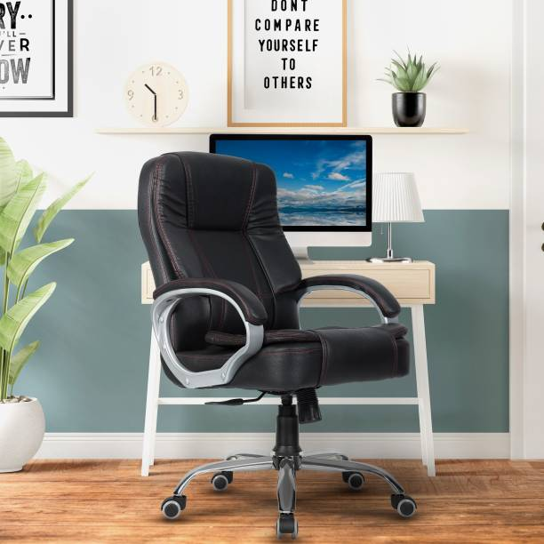 GREEN SOUL Vienna Mid-Back Office Chair (Forest Black) Leatherette Office Executive Chair