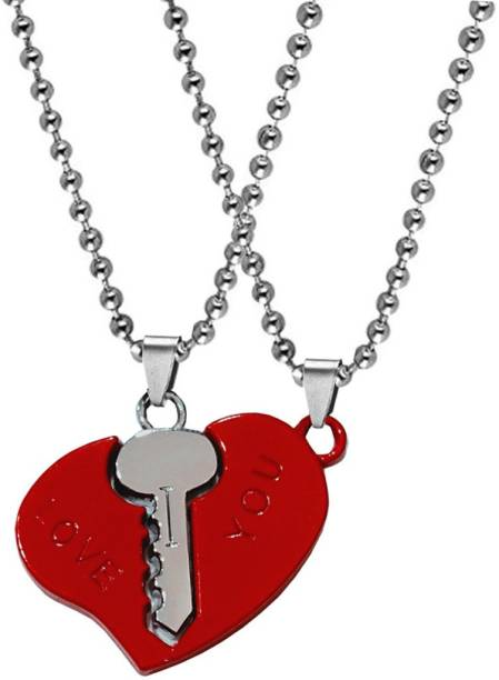 Sullery Valentine Gift I Love You Engraved Heart Key F Dual Locket Pendant Necklace Chain Unisex Jewellery 1 Pair For His And Her For Couple Husband Wife Boyfriend Girlfriend Boys Girls Rhodium Cubic Zirconia Zinc, Metal Pendant Set