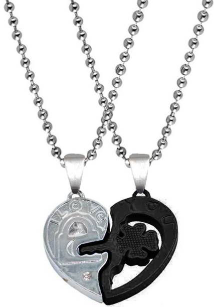 Sullery Valentine Gift Zirconia Crystals I Love You Engraved Heart lock And Key Flower Dual Locket Pendant Necklace Chain Unisex Jewellery 1 Pair For His And Her For Couple Husband Wife Boyfriend Girlfriend Boys Girls Black Silver Cubic Zirconia Zinc, Metal Pendant Set