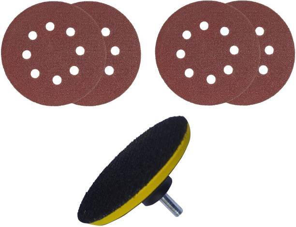 Qualigen 5 inch High Quality 4pc Velcro pad 1pc Backing pad 1pc Adabter (Pack of 6) Metal Polisher