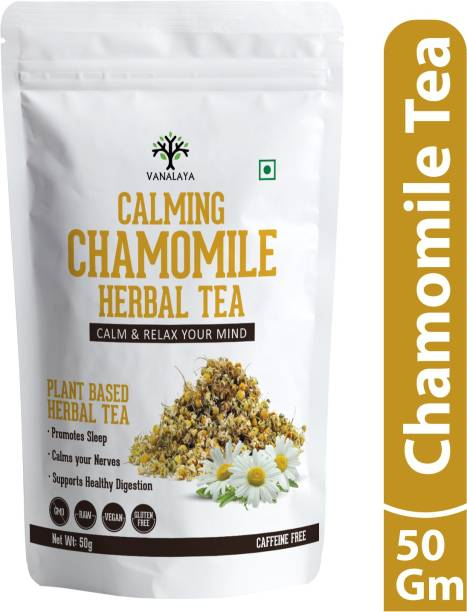 Vanalaya Chamomile Herbal Tea Made from whole Dried Chamomile flowers for stress relief and Good sleep Chamomile Herbal Tea Pouch