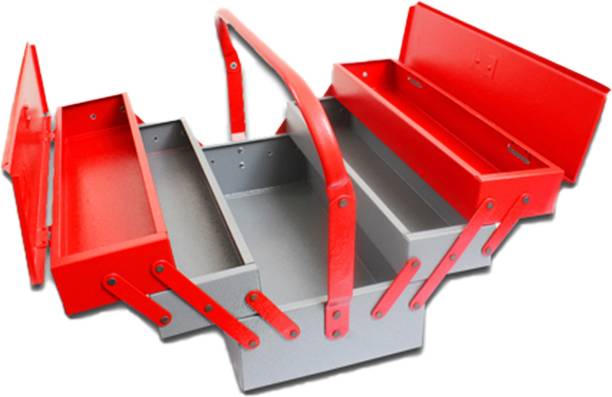 Venus hand tools VTB05 Metal Tool Box with 5 Compartment Box (Red) Tool Box with Tray