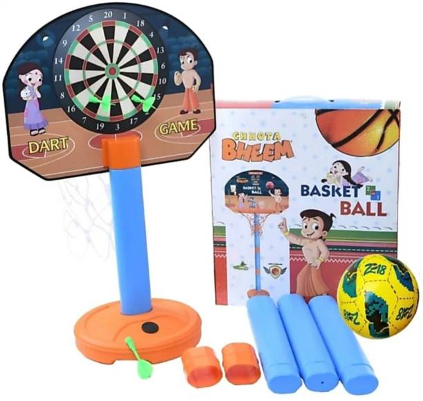 Kirat Pranab 2 in1 Basketball Set with Adjustable Stand and Magnetic Dart Game for Kids for Indoor and Outdoor use (Rubber Basketball and 3 Darts Included in The Box) (Multi Colour) Basketball Basketball