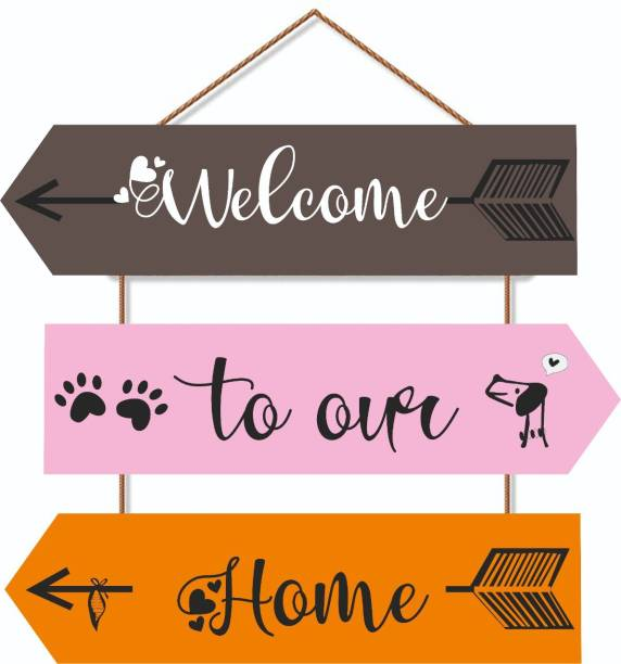 Crafts World Welcome To Our Home Wall Hanging Board Plaque Sign for Room Decoration Decorative Showpiece