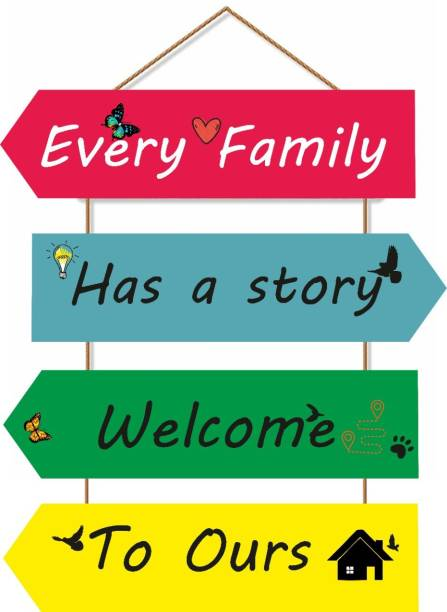 Crafts World Every Family Has a Story Welcome To Ours Wall Hanging Board Plaque Sign for Room Decoration Decorative Showpiece