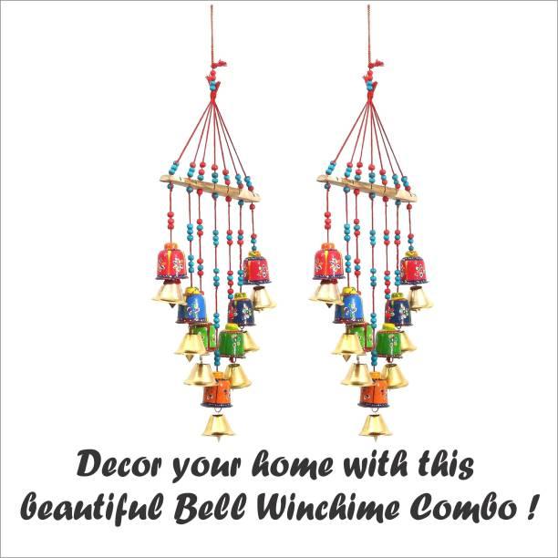 Khatu Crafts Handcrafted Bell Design Windchime Wood Windchime