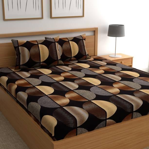 CHHAVI INDIA 160 TC Microfiber Double Geometric Bedsheet