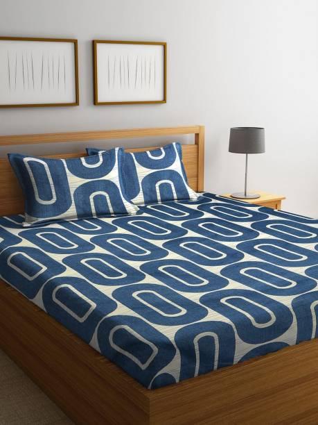 CHHAVI INDIA 160 TC Microfiber King Geometric Bedsheet