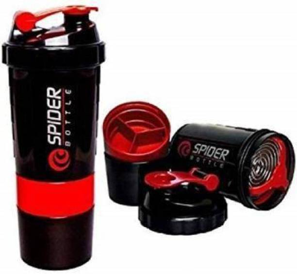 Airfit Protein Shaker Gym Water Bottle with 3 Layer Storage Compartments 600 ml Shaker