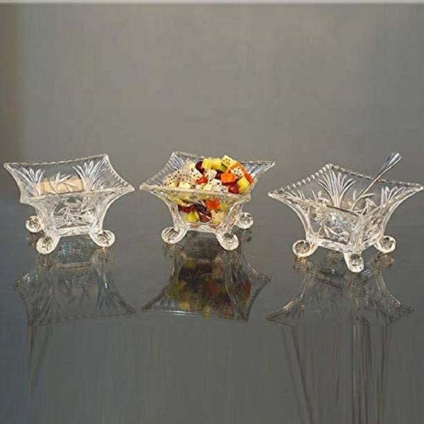WOO4DONE Clear Square Glass ice Cream Bowl Dish/Pudding/Dessert Footed Bowl Set Fruit/Salad/Chocolate Plate for bar Table Party, Home, Restaurant Glass Dessert Bowl Glass Disposable Serving Bowl