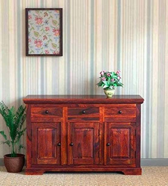 BM Wood Furniture Wooden Sideboard Cabinets for Living Room | Kitchen Chest of Drawer with 3 Cabinet & 3 Drawer | Sheesham, Honey Finish Solid Wood Free Standing Cabinet